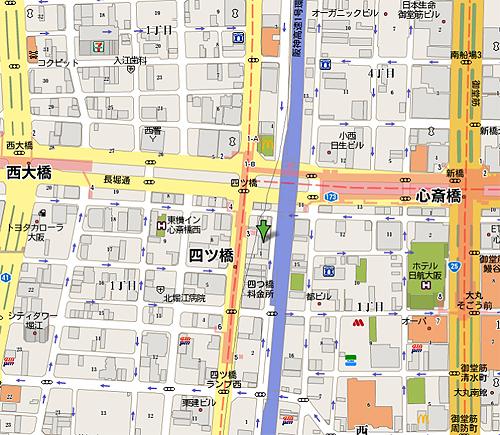 広域地図。麻雀するなら、大阪、四ツ橋の麻雀クラブ遊へ