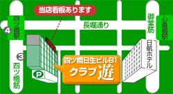 地図。麻雀するなら、大阪、難波、四ツ橋の雀荘、麻雀クラブ遊へ